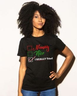I Really Tried Naughty or Nice Checklist Graphic T-Shirt - black shirt design on a model