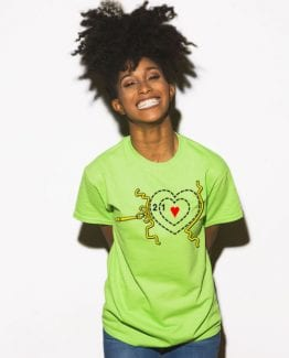 Grinch Heart Graphic T-Shirt - lime shirt design on a model
