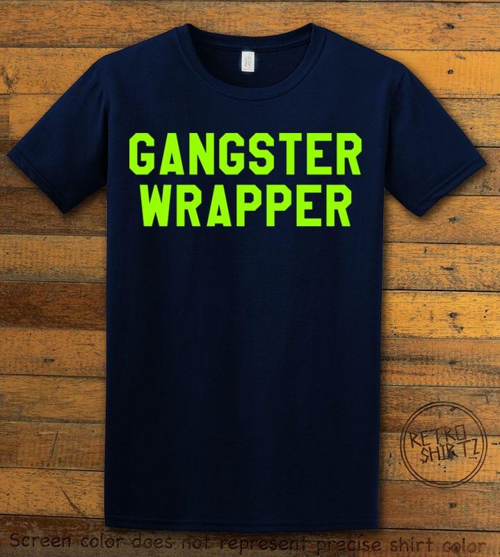 Gangster Wrapper Graphic T-Shirt - navy shirt design