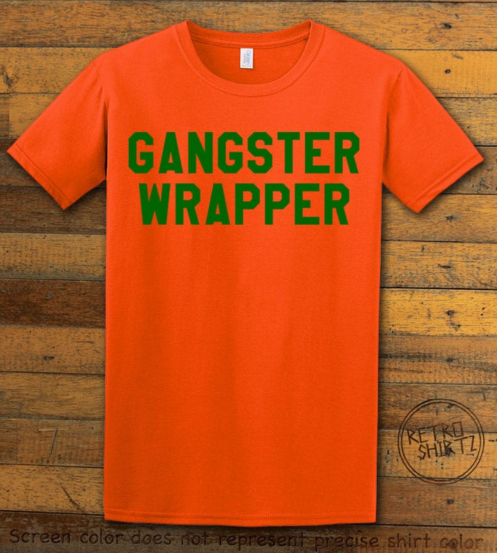 Gangster Wrapper Graphic T-Shirt - orange shirt design
