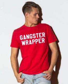 Gangster Wrapper Graphic T-Shirt - red shirt design on a model