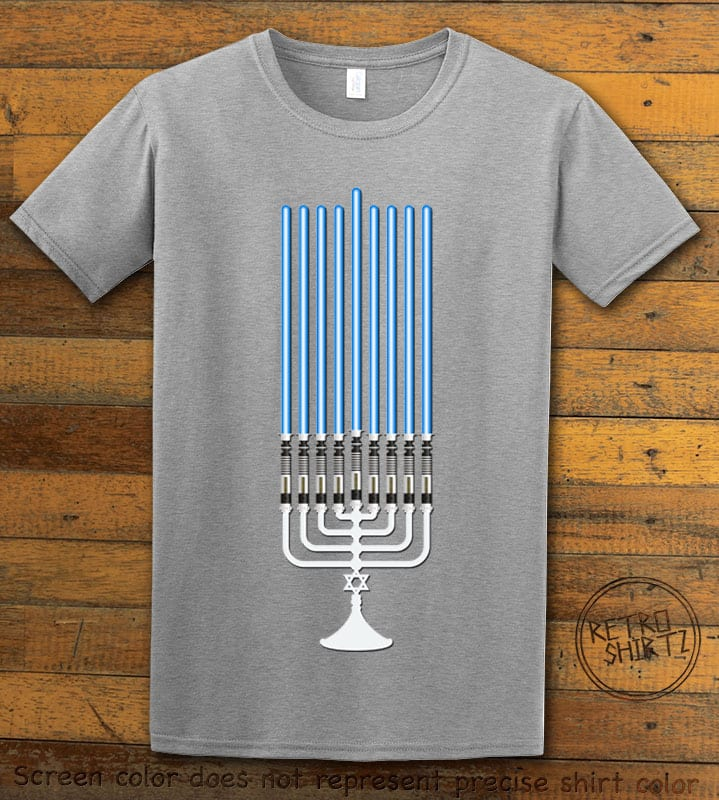 Star Wars Menorah Graphic T-Shirt - grey shirt design