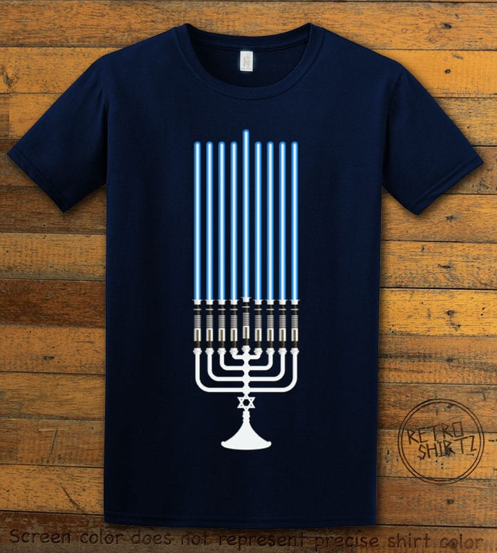 Star Wars Menorah Graphic T-Shirt - navy shirt design