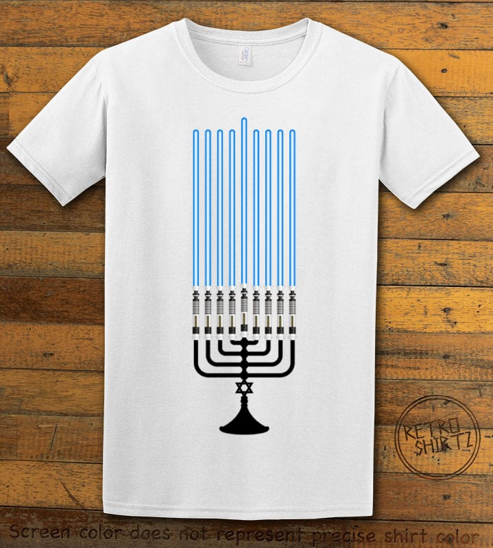 Star Wars Menorah Graphic T-Shirt - white shirt design
