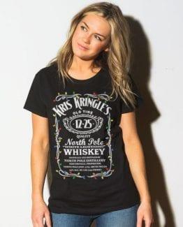 Kris Kringle's Whiskey Graphic T-Shirt - black shirt design on a model