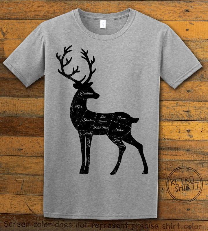 Reindeer Meat Graphic T-Shirt - grey shirt design