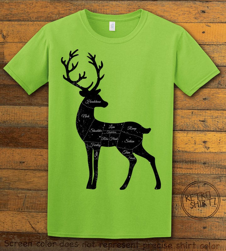 Reindeer Meat Graphic T-Shirt - lime shirt design