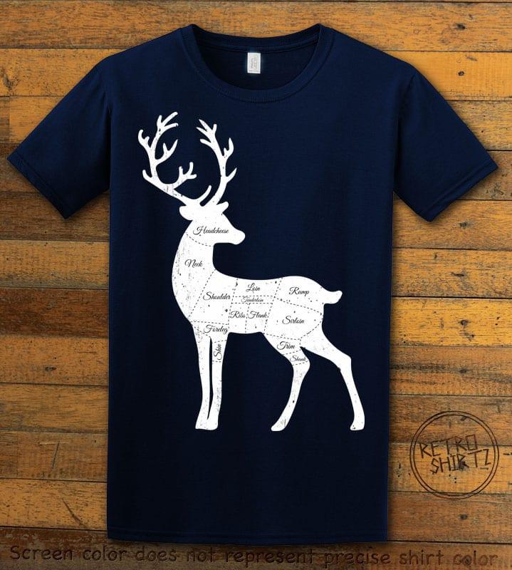 Reindeer Meat Graphic T-Shirt - navy shirt design