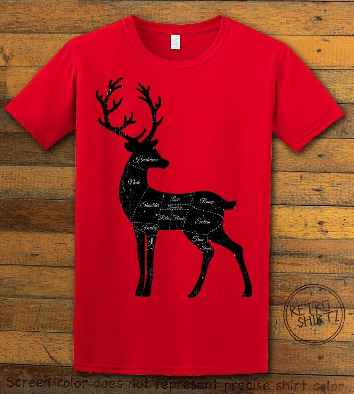 Reindeer Meat Graphic T-Shirt - red shirt design