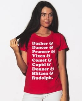 Nine Reindeer Graphic T-Shirt - red shirt design on a model