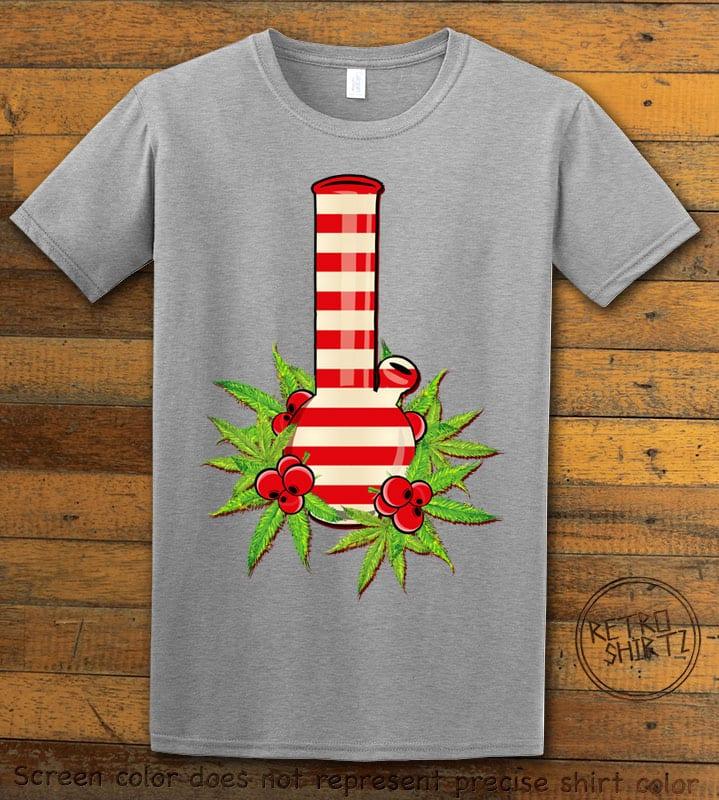 Christmas Bong Graphic T-Shirt - grey shirt design
