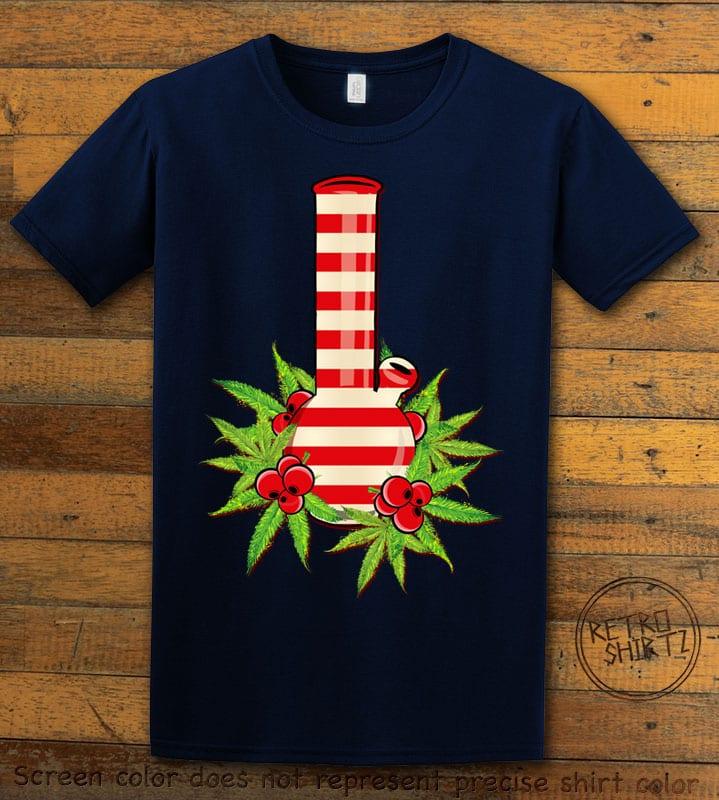 Christmas Bong Graphic T-Shirt - navy shirt design
