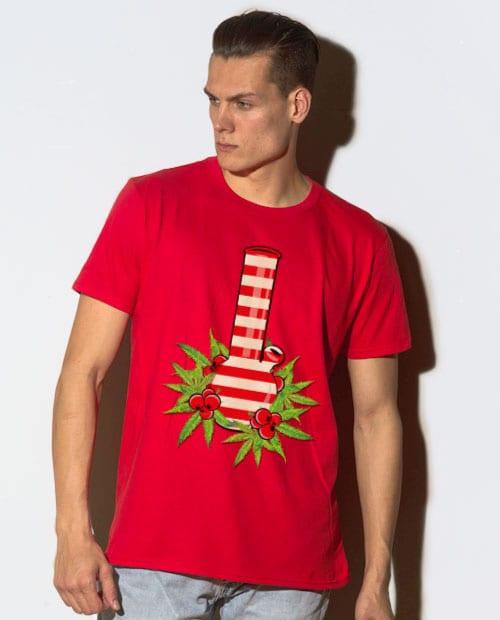 Christmas Bong Graphic T-Shirt - red shirt design on a model