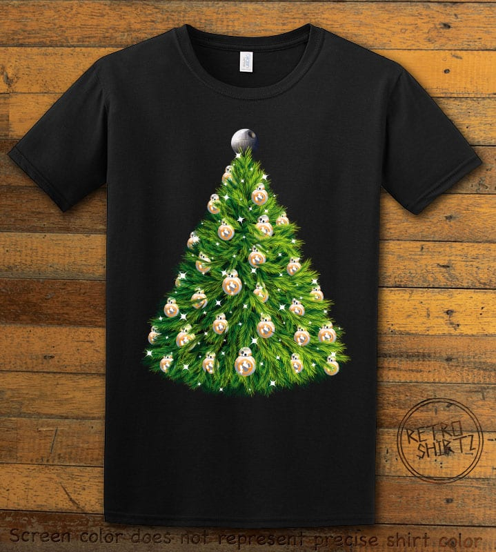 BB8 Christmas Tree Graphic T-Shirt - black shirt design