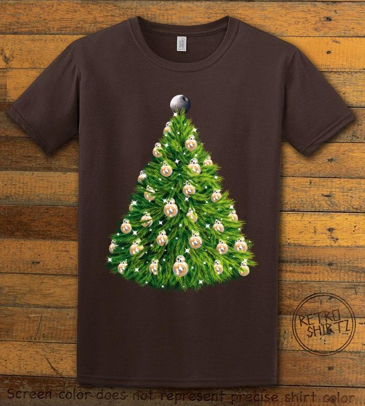 BB8 Christmas Tree Graphic T-Shirt - brown shirt design