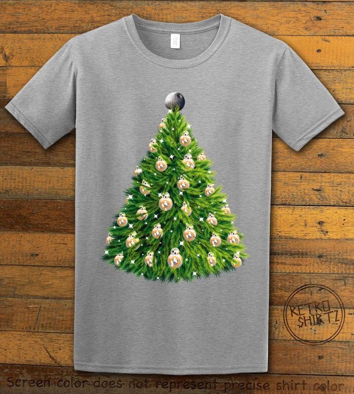 BB8 Christmas Tree Graphic T-Shirt - gray shirt design