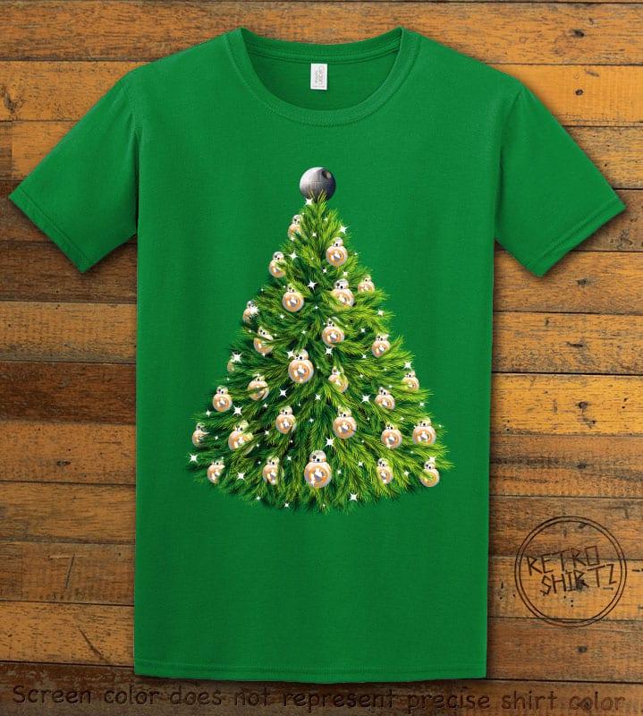 BB8 Christmas Tree Graphic T-Shirt - green shirt design