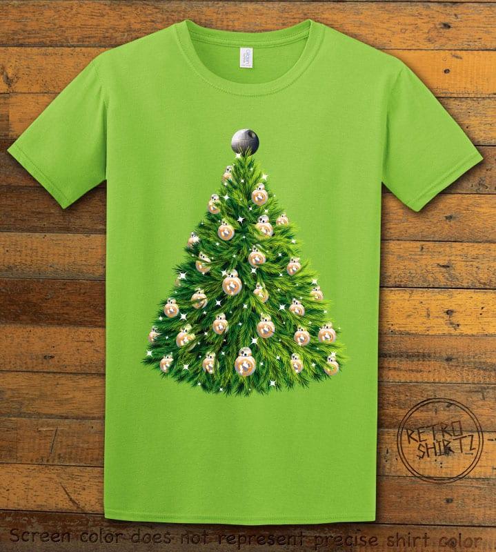 BB8 Christmas Tree Graphic T-Shirt - lime shirt design