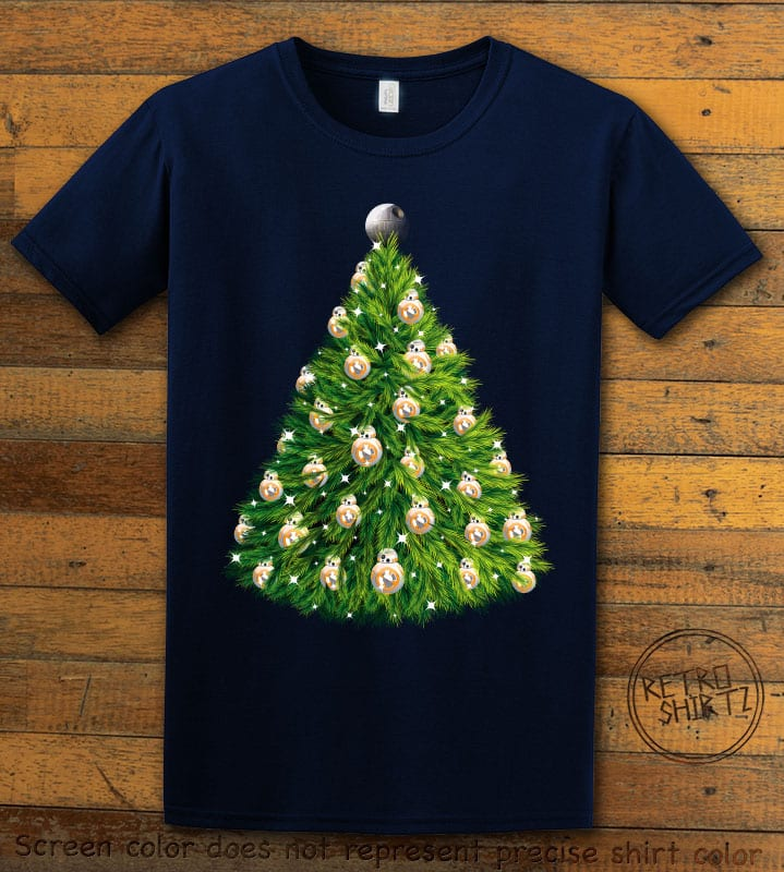 BB8 Christmas Tree Graphic T-Shirt - navy shirt design