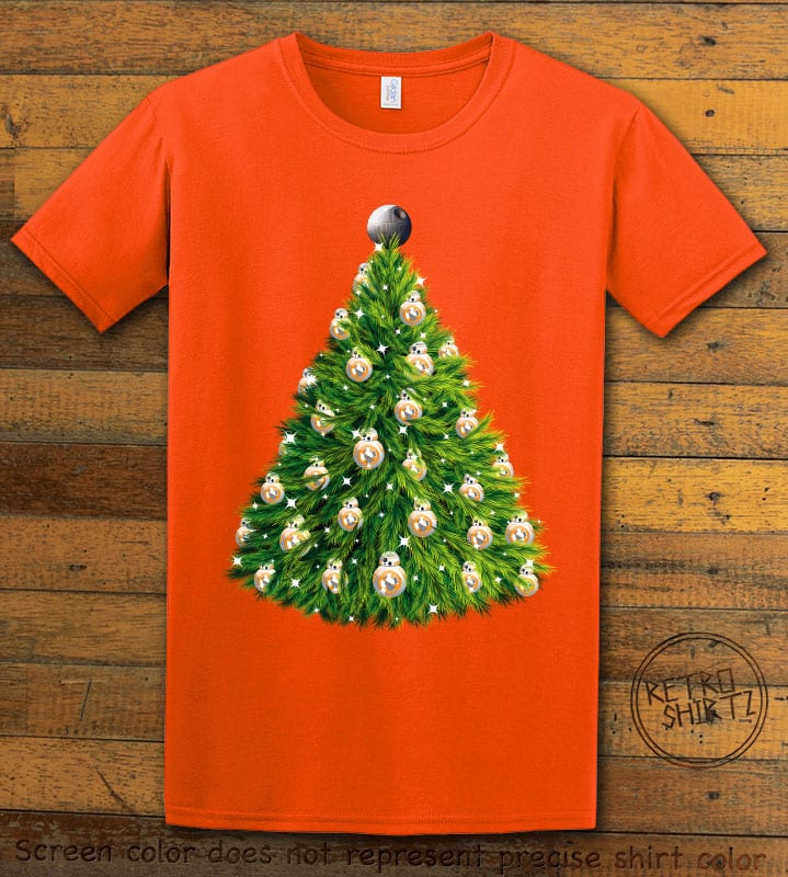 BB8 Christmas Tree Graphic T-Shirt - orange shirt design