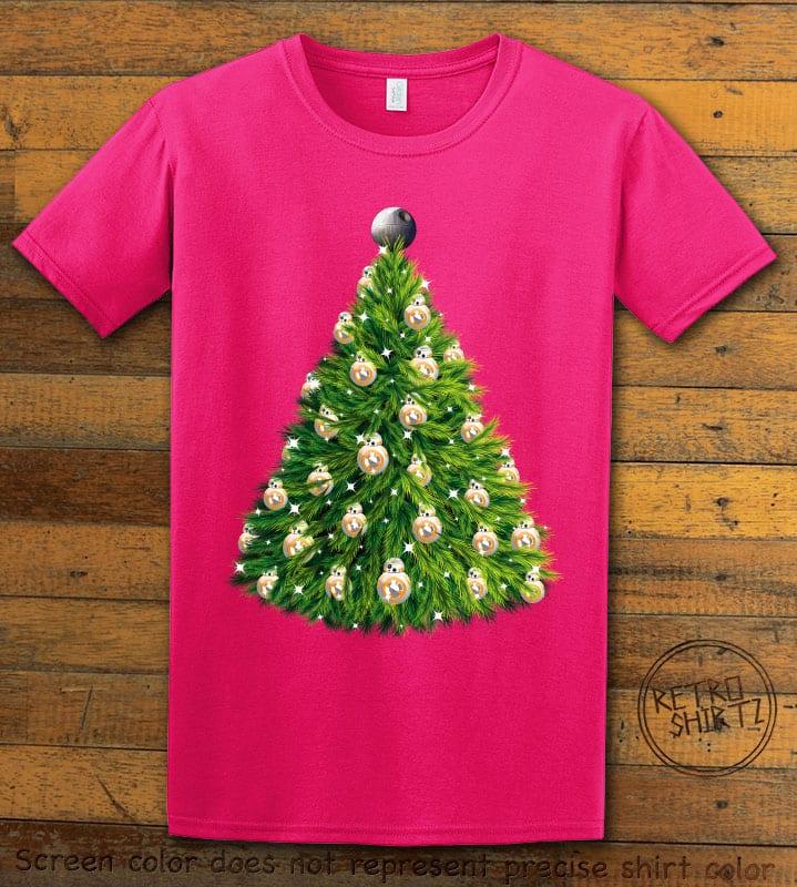 BB8 Christmas Tree Graphic T-Shirt - pink shirt design