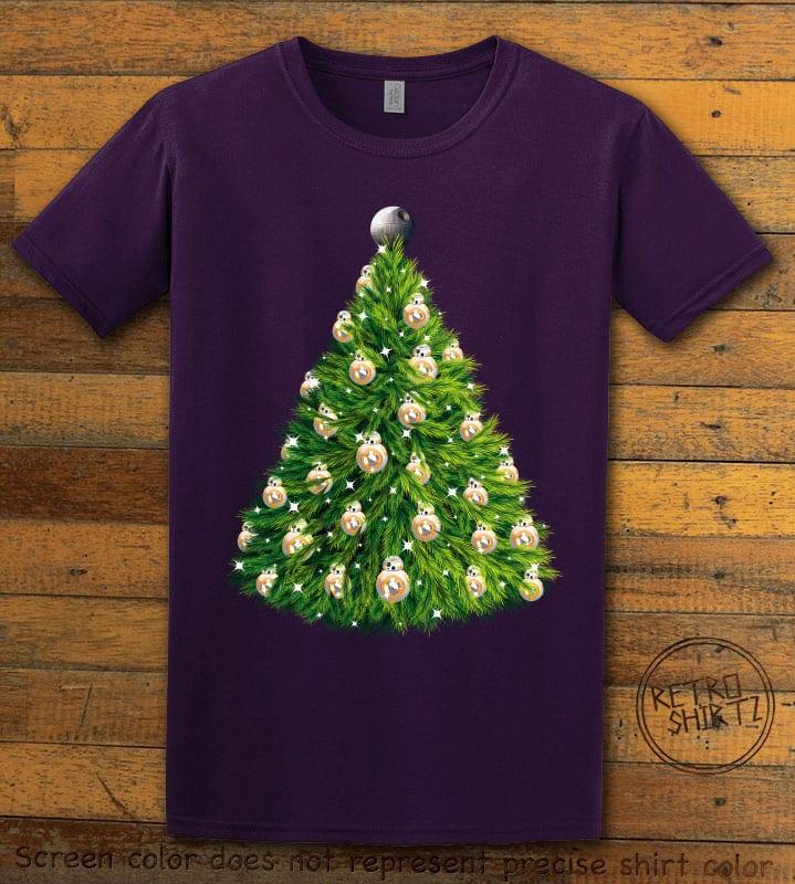BB8 Christmas Tree Graphic T-Shirt - purple shirt design