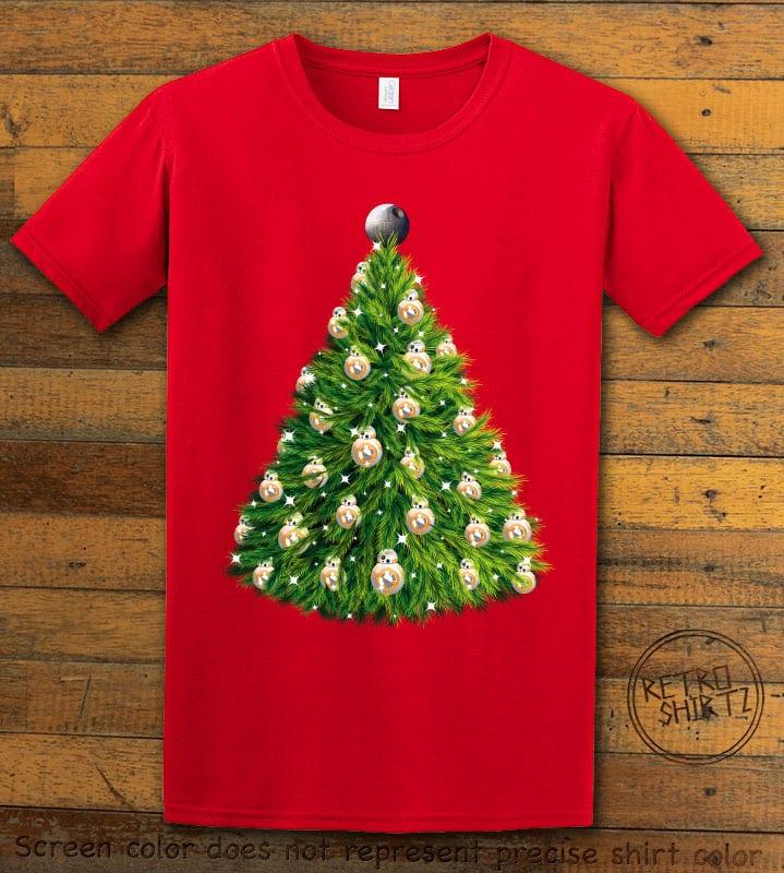 BB8 Christmas Tree Graphic T-Shirt - red shirt design