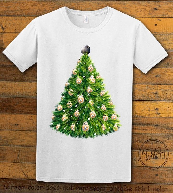 BB8 Christmas Tree Graphic T-Shirt - white shirt design