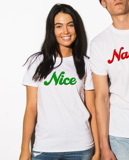 Nice Graphic T-Shirt - white shirt design on a model