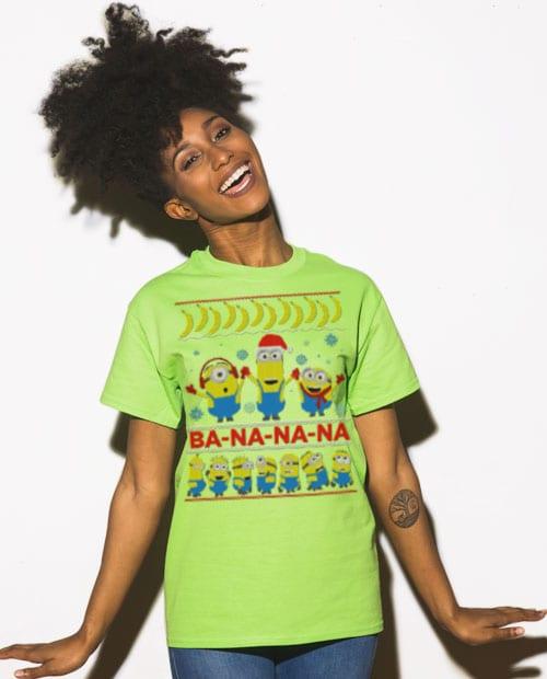 Ba - Na - Na - Na Graphic T-Shirt - lime shirt on a model