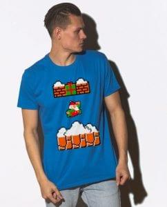 Mario Santa Punching Bricks - Graphic T-Shirt - royal shirt design on a model