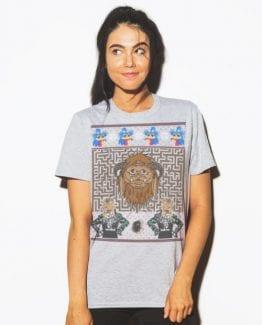 Labyrinth Graphic T-Shirt - grey shirt design on a model