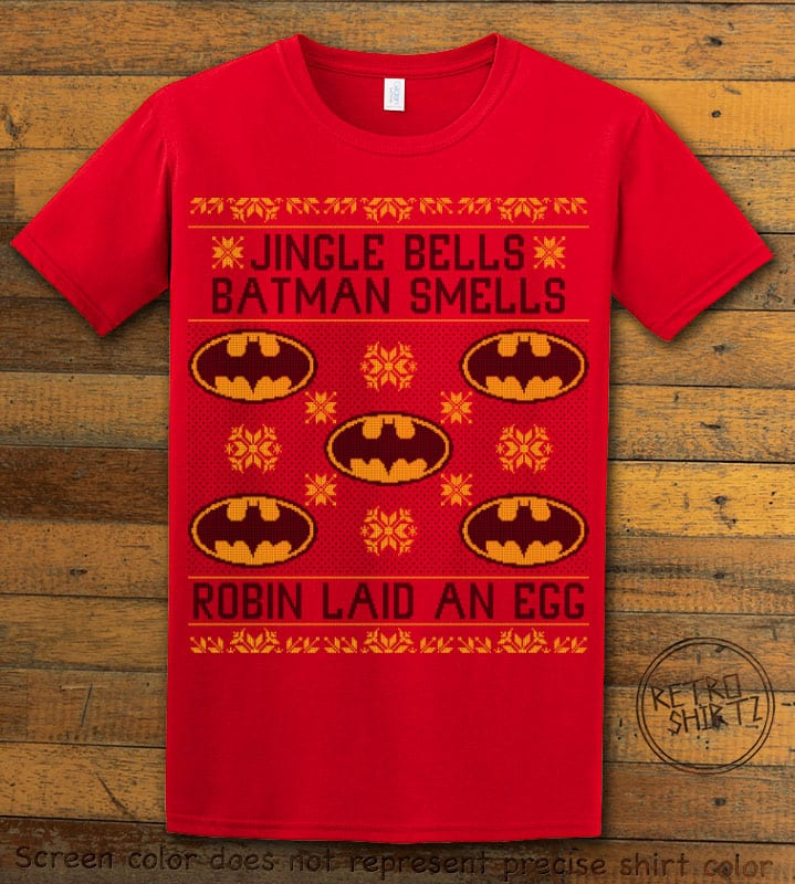 Jingle Bells Batman Smells Robin Laid An Egg Graphic T-Shirt - red shirt design