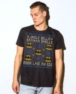 Jingle Bells Batman Smells Robin Laid An Egg Graphic T-Shirt - black shirt design on a model