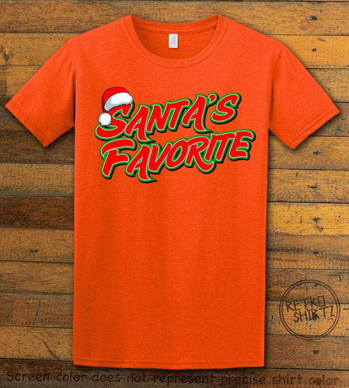 Santa's Favorite - Graphic T-Shirt - orange shirt design