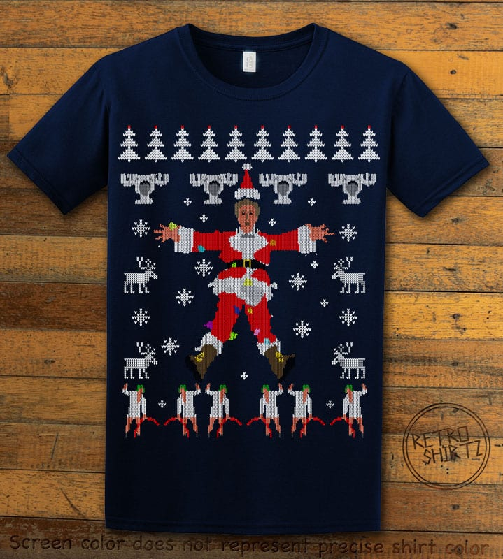 Christmas Vacation Cover Graphic T-Shirt - navy shirt design