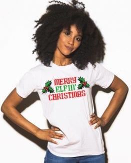Merry Elfin' Christmas Graphic T-Shirt - white shirt design on a model