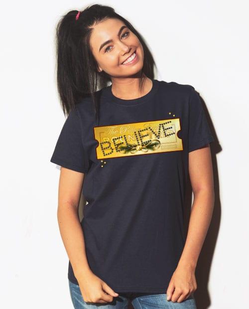 The Polar Express Believe Ticket Graphic T-Shirt - navy shirt design on a model