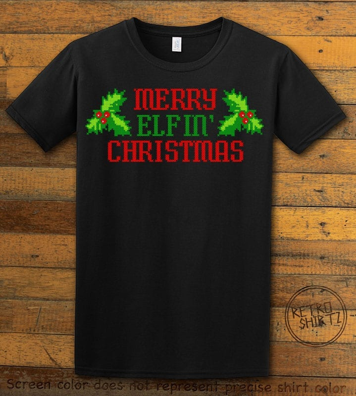 Merry Elfin' Christmas Graphic T-Shirt - black shirt design