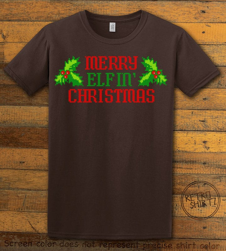 Merry Elfin' Christmas Graphic T-Shirt - brown shirt design