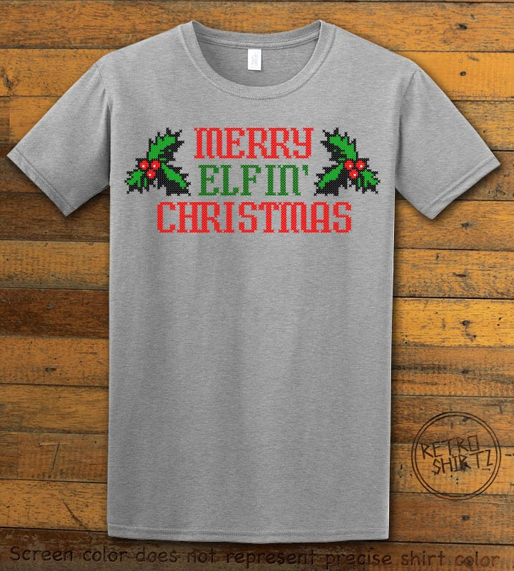 Merry Elfin' Christmas Graphic T-Shirt - grey shirt design