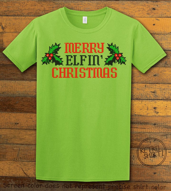 Merry Elfin' Christmas Graphic T-Shirt - lime shirt design