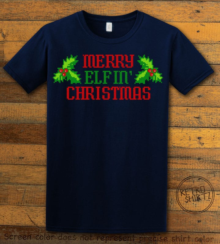 Merry Elfin' Christmas Graphic T-Shirt - navy shirt design