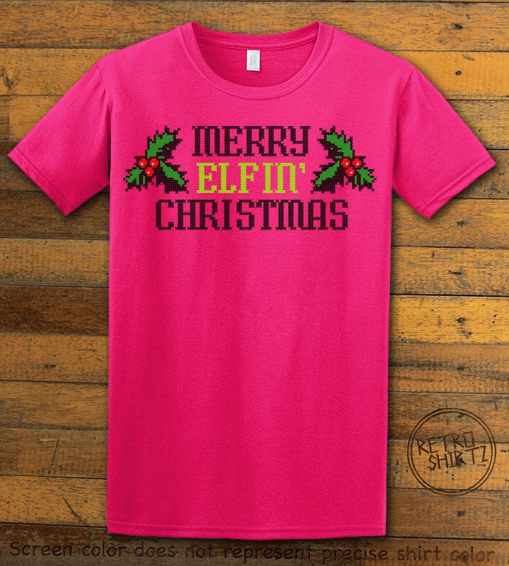 Merry Elfin' Christmas Graphic T-Shirt - pink shirt design