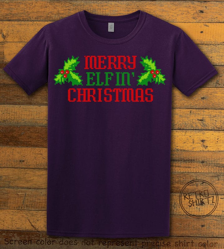 Merry Elfin' Christmas Graphic T-Shirt - purple shirt design