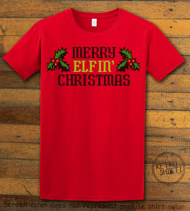 Merry Elfin' Christmas Graphic T-Shirt - red shirt design