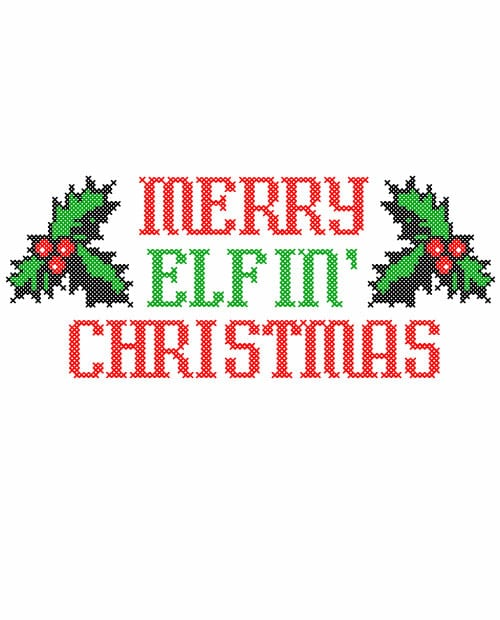 Merry Elfin' Christmas Ticket Graphic T-Shirt main vector