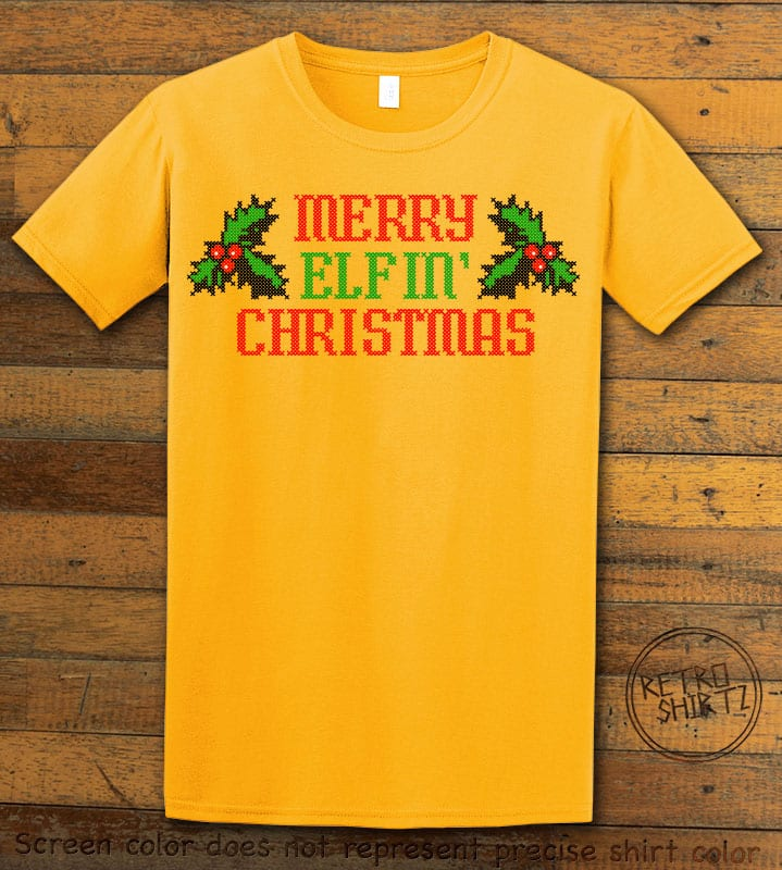Merry Elfin' Christmas Graphic T-Shirt - yellow shirt design