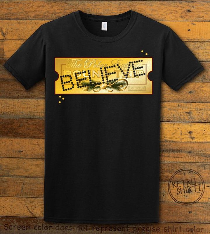 The Polar Express Believe Ticket Graphic T-Shirt - black shirt design