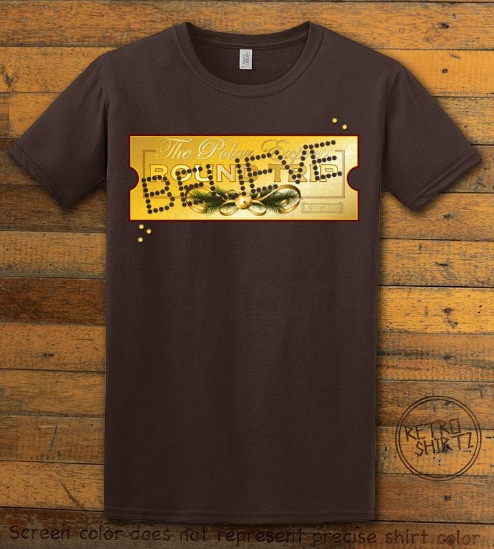 The Polar Express Believe Ticket Graphic T-Shirt - brown shirt design